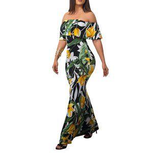 NIP Stretchy Off-Shoulder Maxi Dress multicolor L
